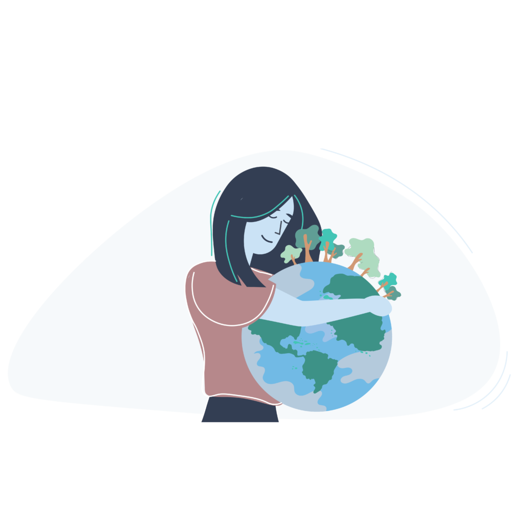 A girl holding planet earth depicting her environmental concern