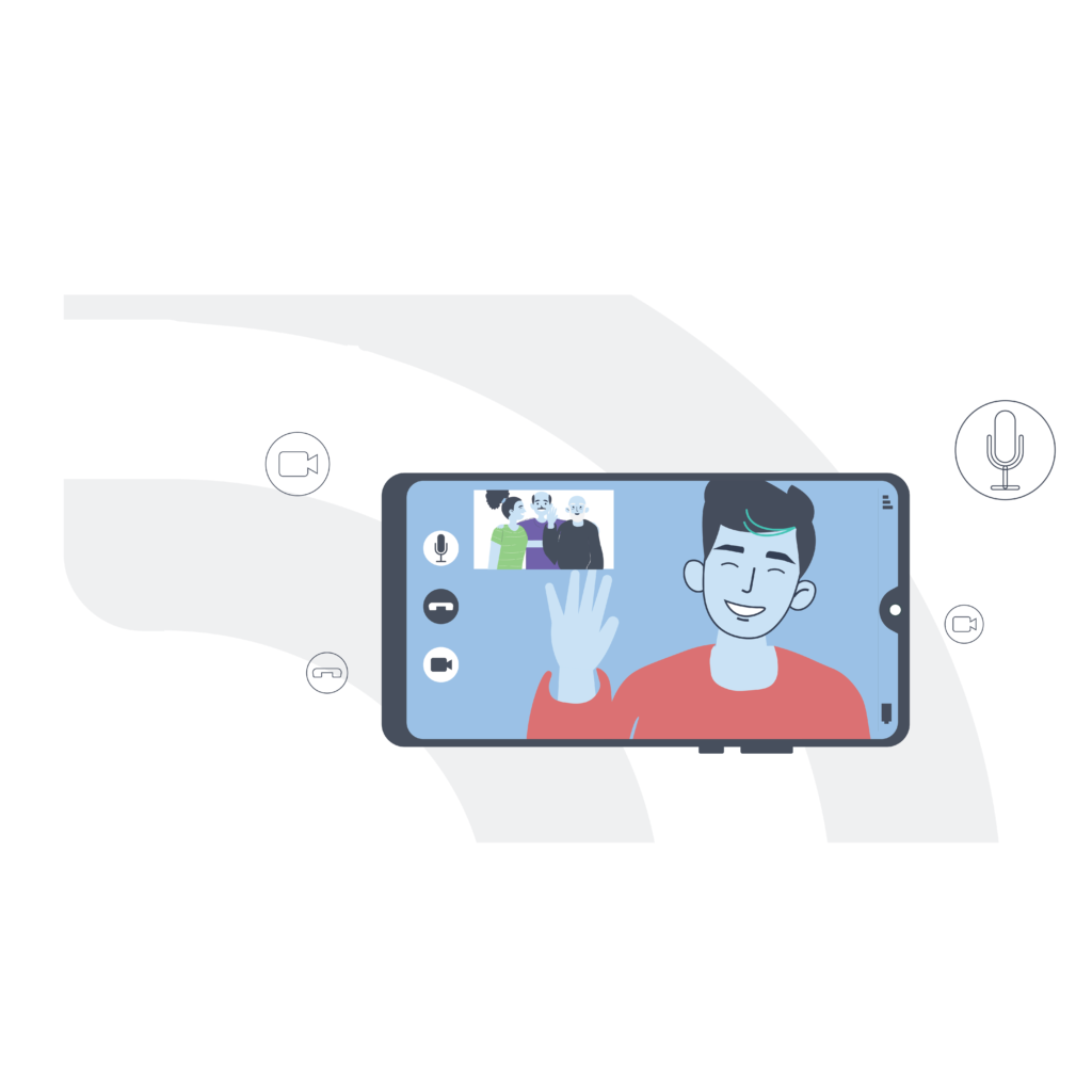 A man on a video call with his family on a mobile phone