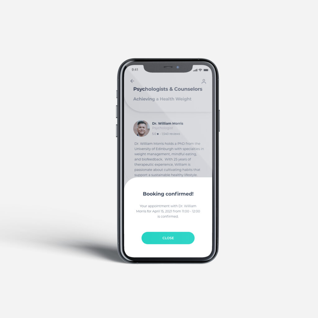 Booking confirmed notification on holisticly app